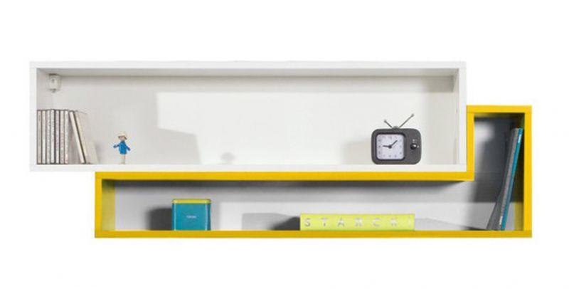 """Jugendzimmer - Hängeregal """"Geel"""" 35, Weiß / Gelb - Abmessungen:  40 x 115 x 25 cm (H x B x T)"""