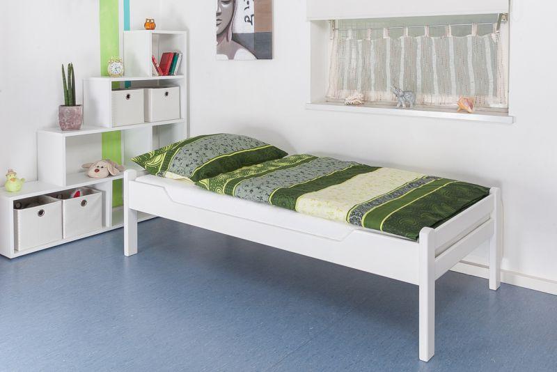 """Einzelbett / Gästebett """"Easy Premium Line"""" K1/1h, 90 x 200 cm Buche Vollholz massiv weiß lackiert"""