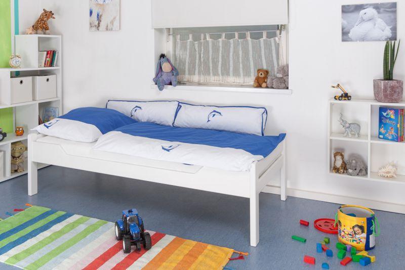 "Kinderbett / Jugendbett ""Easy Premium Line"" K1/1h, 90 x 200 cm Buche Vollholz massiv weiß lackiert"