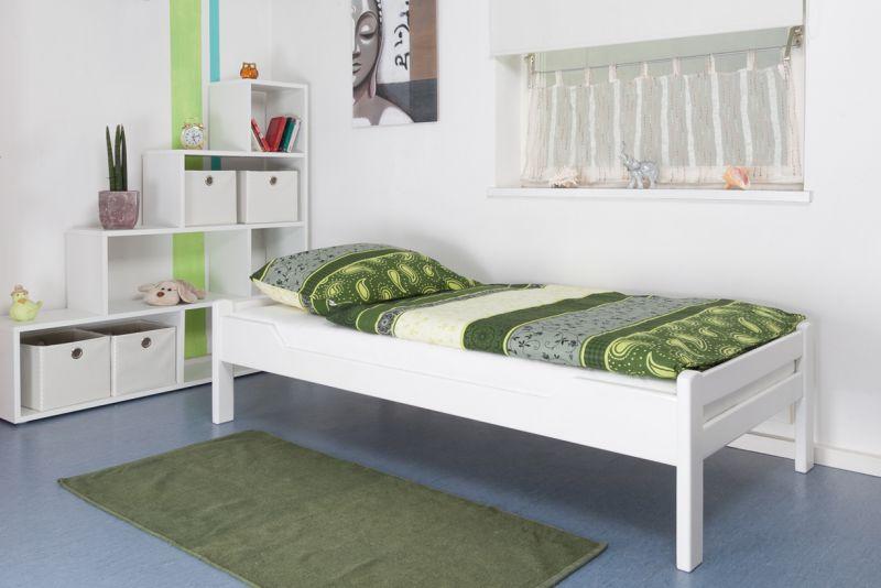 """Einzelbett """"Easy Premium Line"""" K1/1n, Buche Vollholz massiv weiß lackiert - Maße: 90 x 200 cm"""