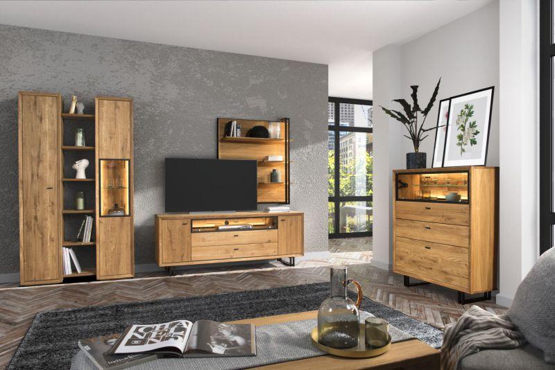 Wohnzimmer Komplett-Set B Olinda, 7-teilig, Farbe: Natur, Eiche teilmassiv