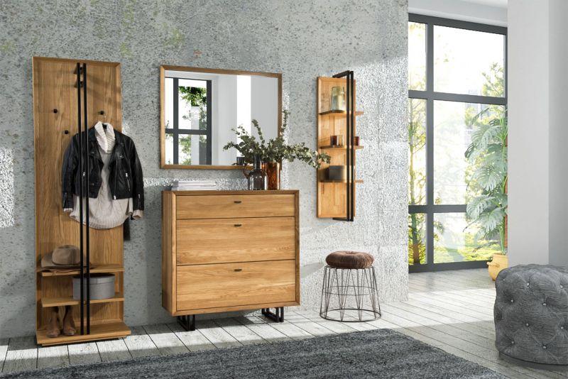 Garderobe Komplett-Set C Belem, 4-teilig, Farbe: Natur, Eiche teilmassiv