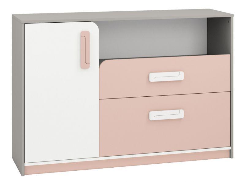 Kinderzimmer - Kommode Renton 09, Farbe: Platingrau / Weiß / Puderrosa - Abmessungen: 94 x 138 x 40 cm (H x B x T), mit 1 Tür, 2 Schubladen und 4 Fächern