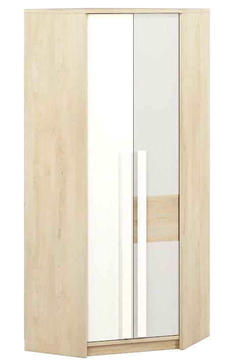 Jugendzimmer - Drehtürenschrank / Eckkleiderschrank Greeley 01, Farbe: Buche / Weiß / Hellgrau - Abmessungen: 199 x 82 x 82 cm (H x B x T), mit 2 Türen und 6 Fächern