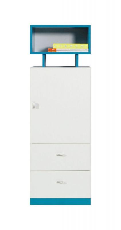 """Jugendzimmer - Schrank """"Geel"""" 08, Weiß / Türkis - Abmessungen: 135 x 45 x 40 cm (H x B x T)"""