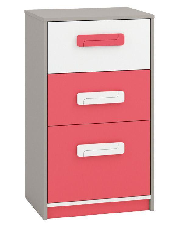 Kinderzimmer - Kommode Renton 17, Farbe: Platingrau / Weiß / Himbeerrot - Abmessungen: 94 x 54 x 40 cm (H x B x T), mit 3 Schubladen