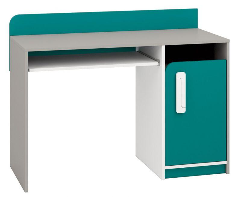 Kinderzimmer - Schreibtisch Renton 11, Farbe: Platingrau / Weiß / Blaugrün - Abmessungen: 91 x 120 x 52 cm (H x B x T), mit 1 Tür und 3 Fächern