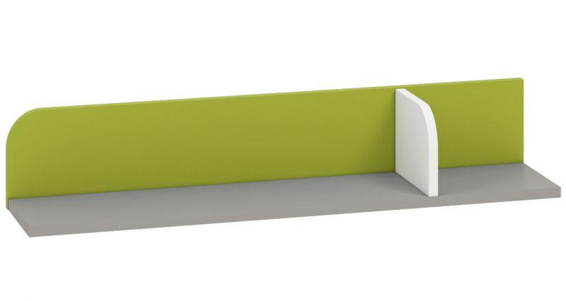 Kinderzimmer - Hängeregal / Wandregal Renton 15, Farbe: Platingrau / Weiß / Grün - Abmessungen: 15 x 92 x 20 cm (H x B x T)