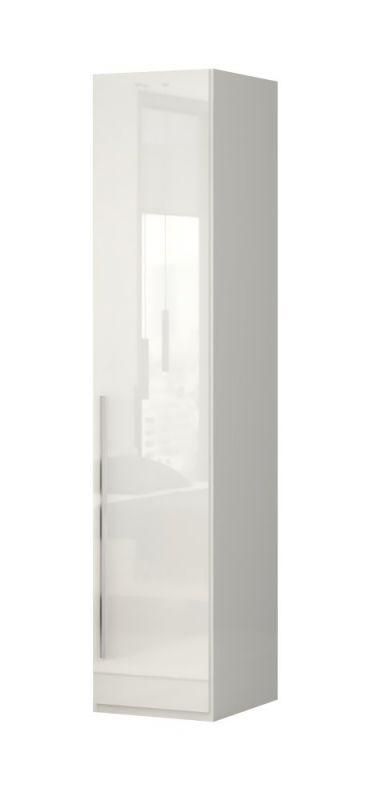 Drehtürenschrank / Kleiderschrank Siumu 01, Farbe: Beige / Beige Hochglanz - 224 x 47 x 56 cm (H x B x T)