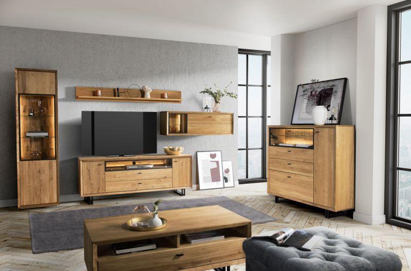 Wohnzimmer Komplett-Set C Olinda, 6-teilig, Farbe: Natur, Eiche teilmassiv