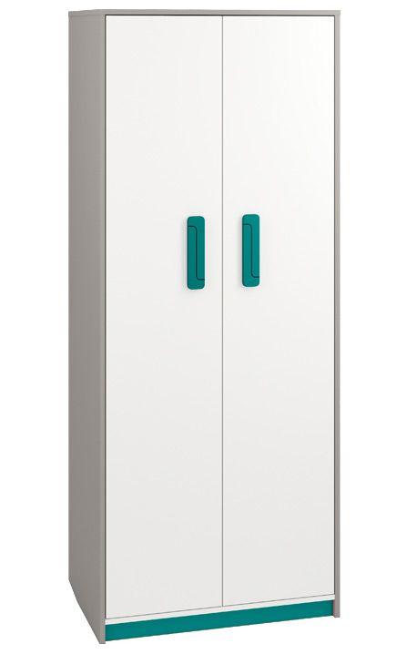 Kinderzimmer - Drehtürenschrank / Kleiderschrank Renton 02, Farbe: Platingrau / Weiß / Blaugrün - Abmessungen: 199 x 80 x 52 cm (H x B x T), mit 2 Türen und 7 Fächern