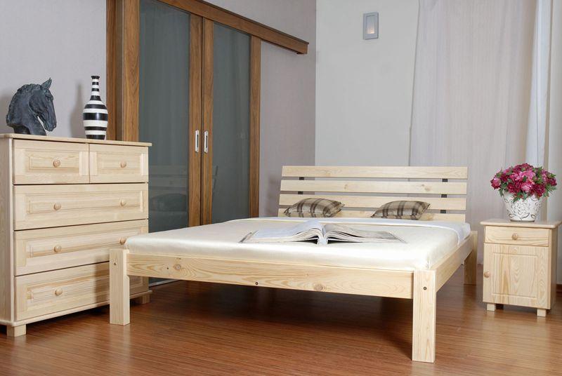 Doppelbett / Gästebett Kiefer Vollholz massiv natur A3, inkl. Lattenrost - Abmessung 160 x 200 cm