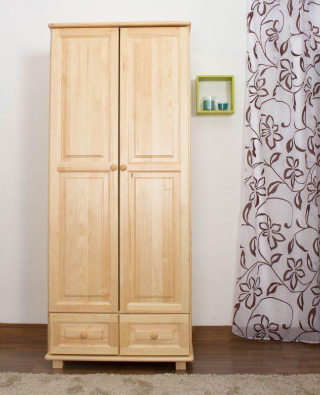 Kleiderschrank Massivholz natur 012 - Abmessung 190 x 90 x 60 cm (H x B x T)