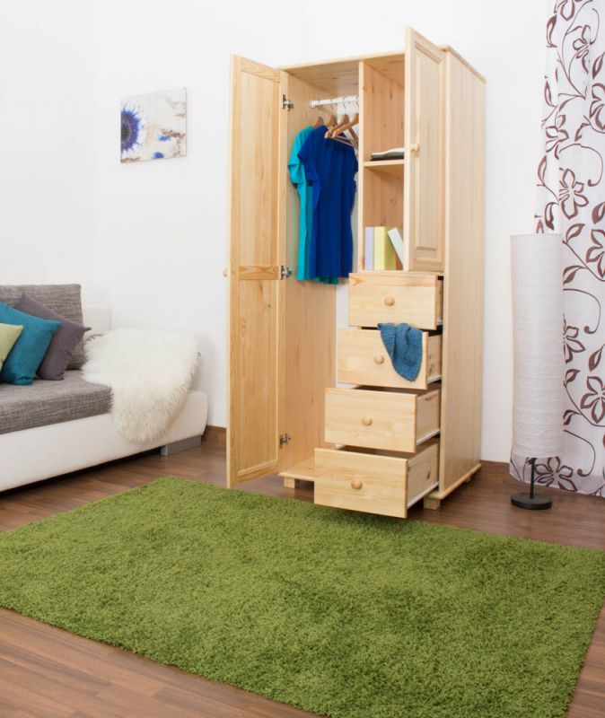 Kleiderschrank Massivholz natur 009 - Abmessung 190 x 80 x 60 cm (H x B x T)