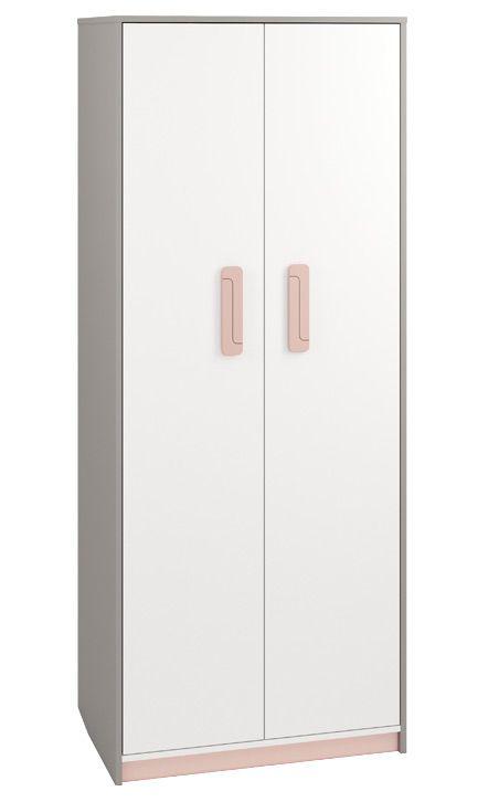 Kinderzimmer - Drehtürenschrank / Kleiderschrank Renton 02, Farbe: Platingrau / Weiß / Puderrosa - Abmessungen: 199 x 80 x 52 cm (H x B x T), mit 2 Türen und 7 Fächern