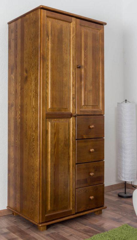 Kleiderschrank Kiefer Vollholz massiv Eichefarben 009 - Abmessung 190 x 80 x 60 cm (H x B x T)
