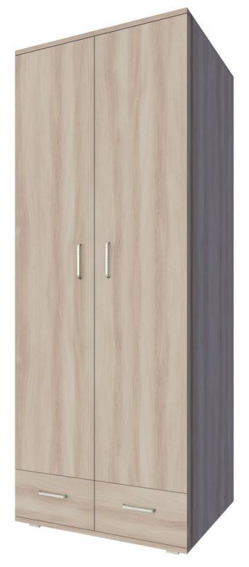 Drehtürenschrank / Kleiderschrank Kisaran 16, Farbe: Sonoma Eiche - Abmessungen: 200 x 80 x 55 cm (H x B x T)