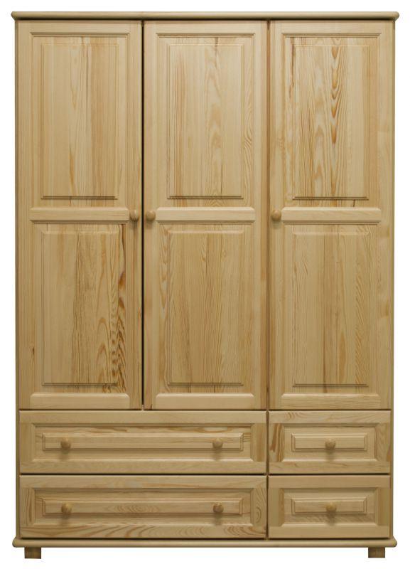 Kleiderschrank Massivholz natur 017 - Abmessung 190 x 120 x 60 cm (H x B x T)