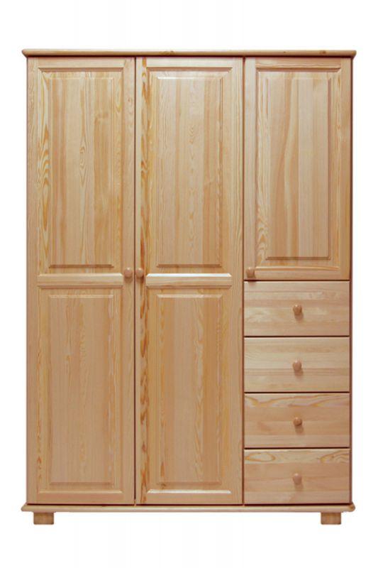 Kleiderschrank Massivholz natur 018 - Abmessung 190 x 133 x 60 cm (H x B x T)