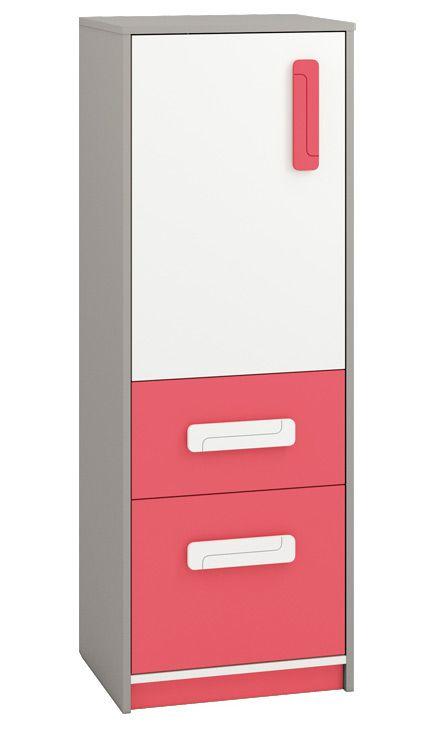 Kinderzimmer - Kommode Renton 08, Farbe: Platingrau / Weiß / Himbeerrot - Abmessungen: 140 x 50 x 40 cm (H x B x T), mit 1 Tür, 2 Schubladen und 3 Fächern