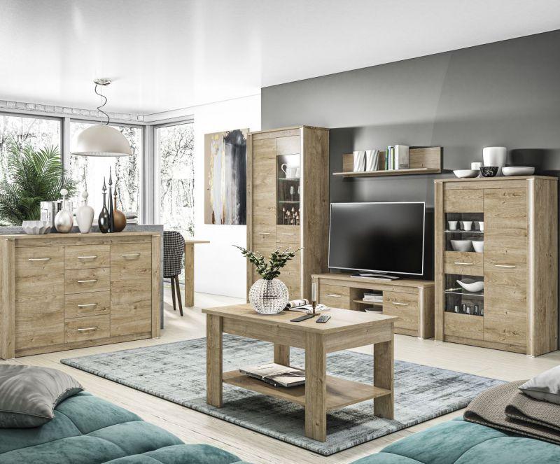 Wohnzimmer Komplett - Set A Brovst, 6-teilig, Farbe: Eiche