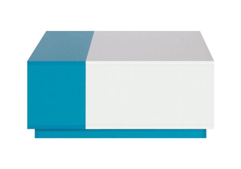 """Jugendzimmer - Couchtisch """"Geel"""" 16, Weiß / Türkis - Abmessungen: 80 x 80 x 35 cm (B x T x H)"""
