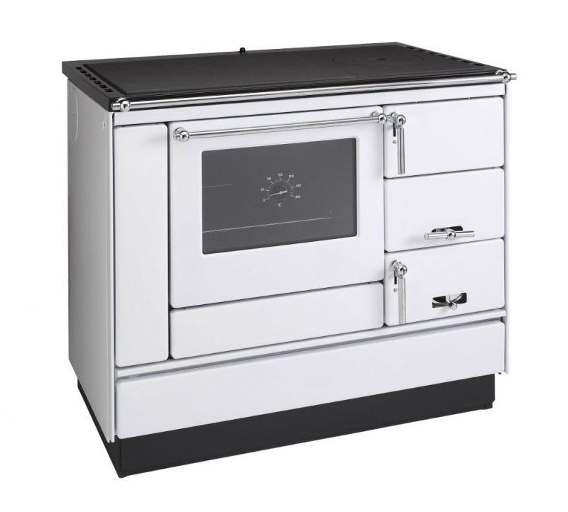 Festbrennstoff -Herd 6-10 kW Weiß mit Glas-Keramikplatte, Edelstahlrahmen und Backrohr