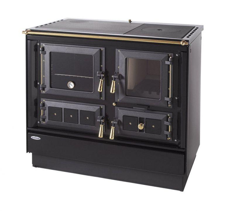 Festbrennstoff-Herd 7,5-10 kW mit Stahlplatte gussgrau und Backrohr - Ausführung: Schwarz links mit Titan vergoldeten Griffen