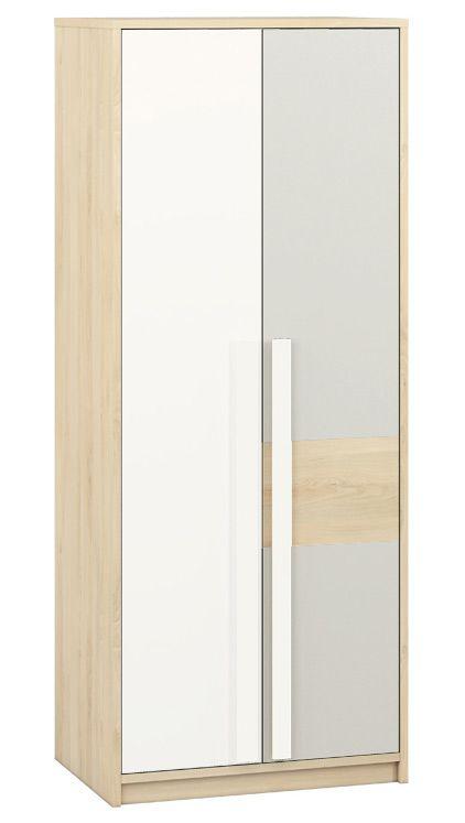 Jugendzimmer - Drehtürenschrank / Kleiderschrank Greeley 02, Farbe: Buche / Weiß / Hellgrau - Abmessungen: 199 x 80 x 55 cm (H x B x T), mit 2 Türen und 6 Fächern