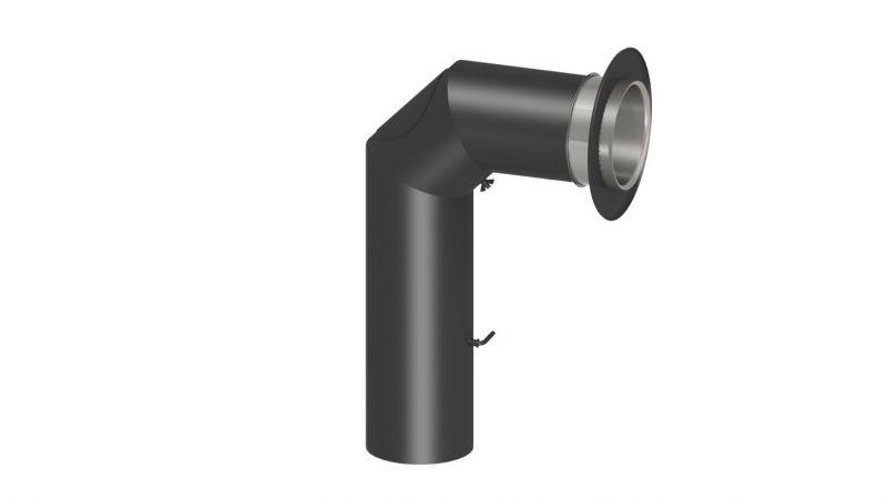 """Rauchrohr Set """"Standard"""" inkl. Rosette und Doppelwandfutter (700 x 450 mm) - Durchmesser: 120 mm, Farbe: Schwarz"""