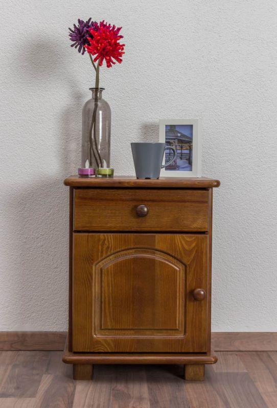 Nachtkommode Kiefer massiv Vollholz Eichefarben 010 - Abmessung 55 x 42 x 35 cm (H x B x T)