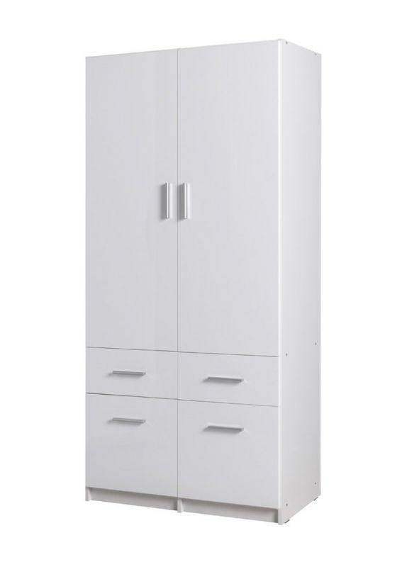 Drehtürenschrank / Kleiderschrank Messini 03, Farbe: Weiß / Weiß Hochglanz - Abmessungen: 198 x 92 x 54 cm (H x B x T)