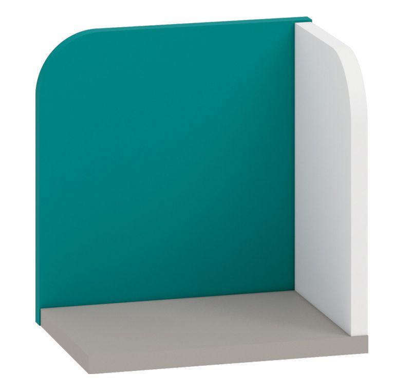 Kinderzimmer - Hängeregal / Wandregal Renton 16, Farbe: Platingrau / Weiß / Blaugrün - Abmessungen: 27 x 27 x 20 cm (H x B x T)