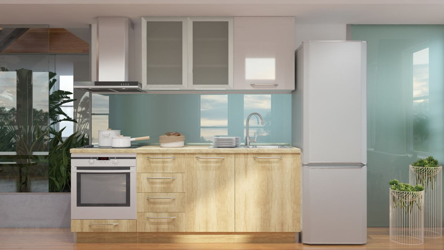 Küchenzeile / Küchenblock Fagali 02, 6-teilig, Farbe: Braun Hochglanz / Creme Hochglanz