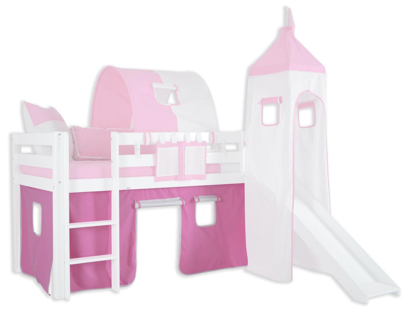 Vorhänge Stoff-Set - Farbe:Rosa/Weiß