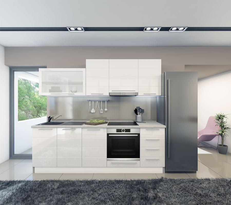 Küchenzeile / Küchenblock Fagali 07, 8-teilig, Farbe: Weiß / Weiß Hochglanz