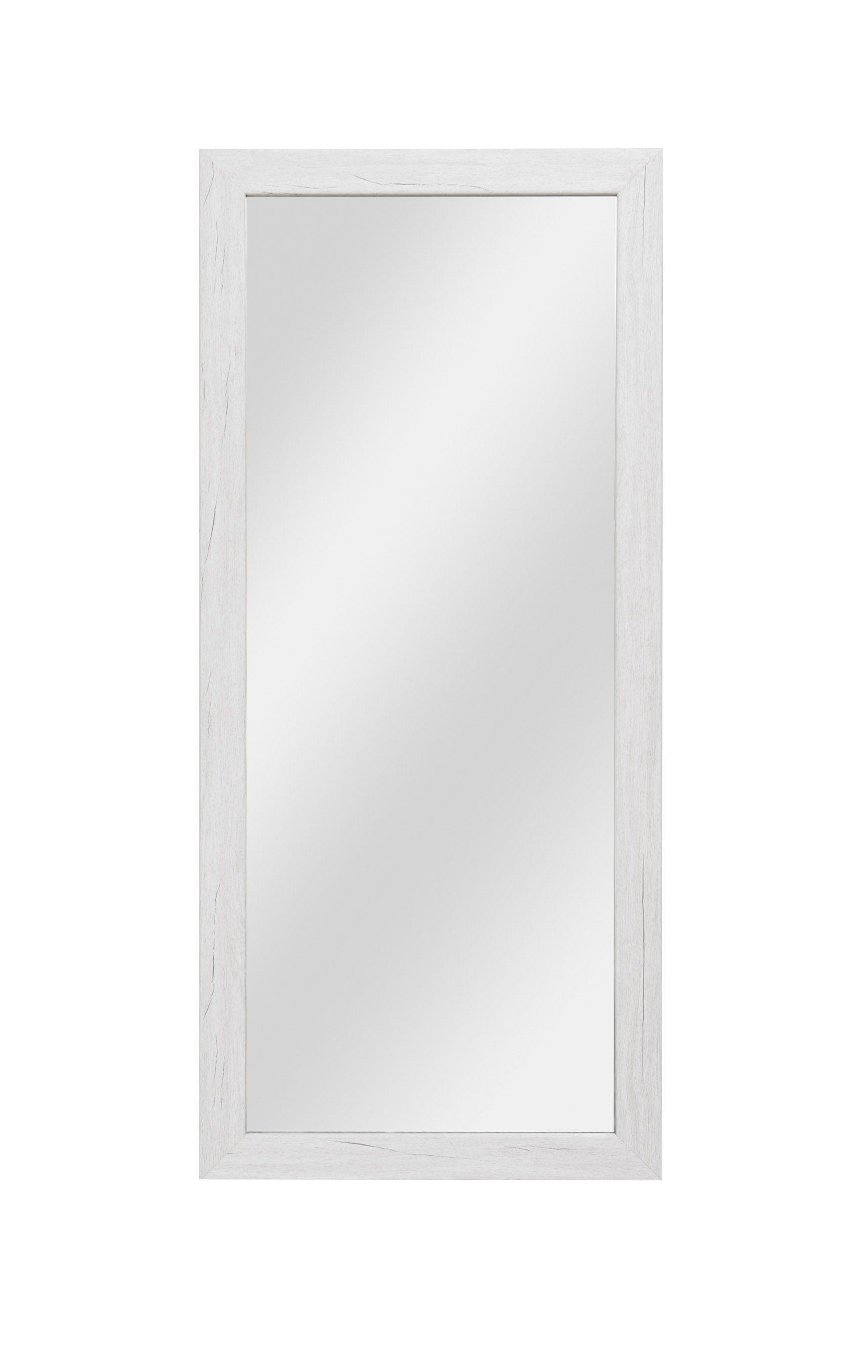 Spiegel Camprodon 04, Farbe: Eiche Weiß - 113 x 50 x 2 cm (H x B x T)