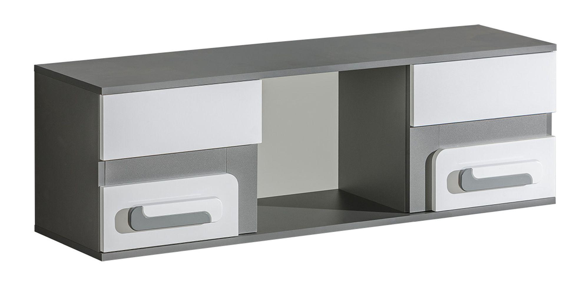 Jugendzimmer - Hängeregal / Wandregal Oskar 10, Farbe: Anthrazit / Weiß - 38 x 120 x 32 cm (H x B x T)