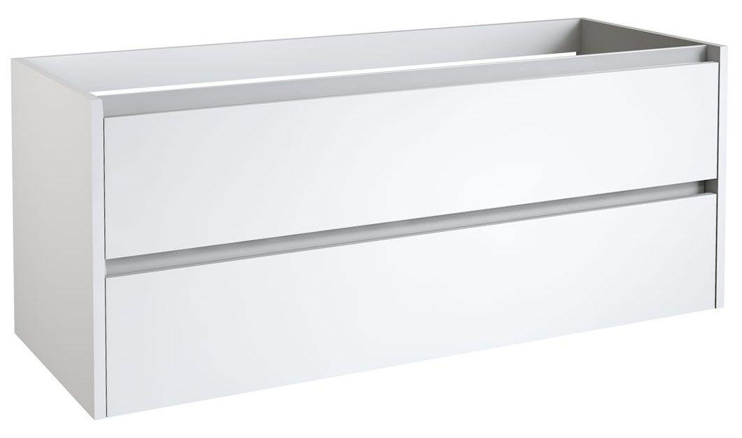 Waschtischunterschrank Kolkata 40 mit Siphonausschnitten für Doppelwaschtisch, Farbe: Weiß glänzend – 50 x 120 x 46 cm (H x B x T)