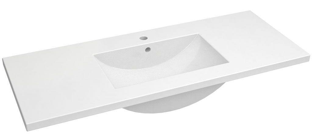 Bad - Waschbecken Bokaro 04, Farbe: Weiß – 18 x 122 x 47 cm (H x B x T)