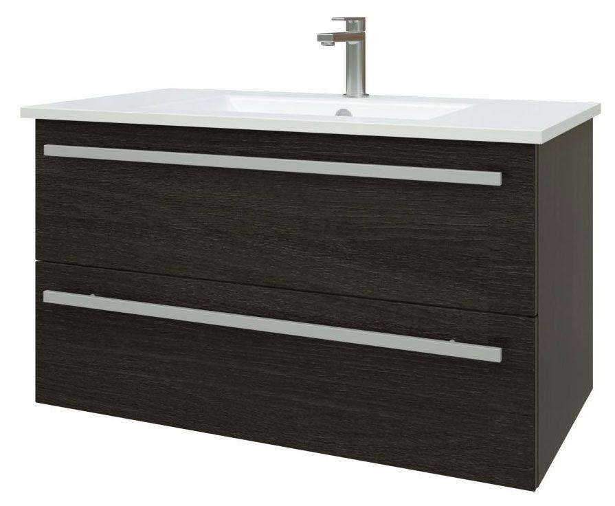 Waschtischunterschrank Bidar 44, Farbe: Eiche Schwarz – 50 x 92 x 45 cm (H x B x T)