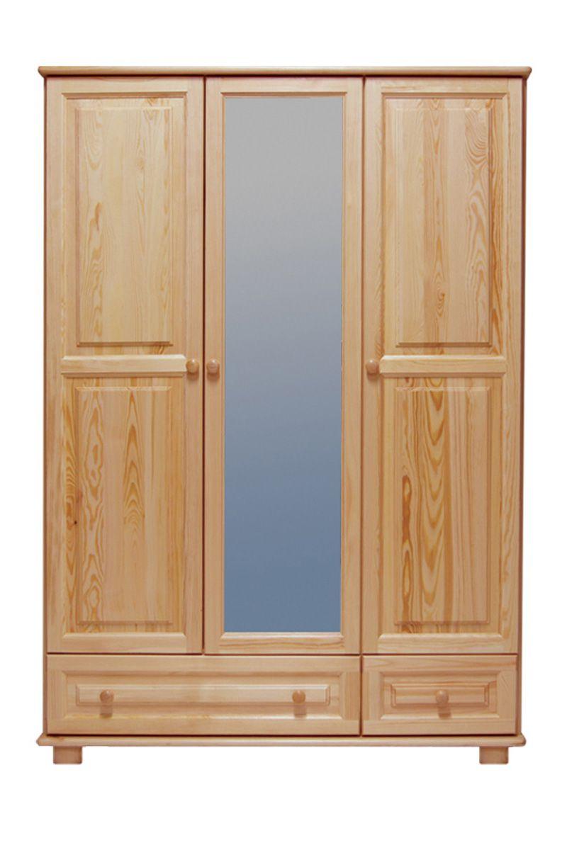 Kleiderschrank Kiefer Vollholz massiv natur 019 - Abmessung 190 x 120 x 60 cm (H x B x T)