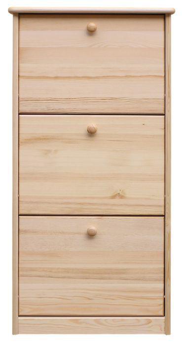 Schuhschrank Kiefer Vollholz massiv natur Junco 213 - Abmessung 115 x 58 x 30 cm