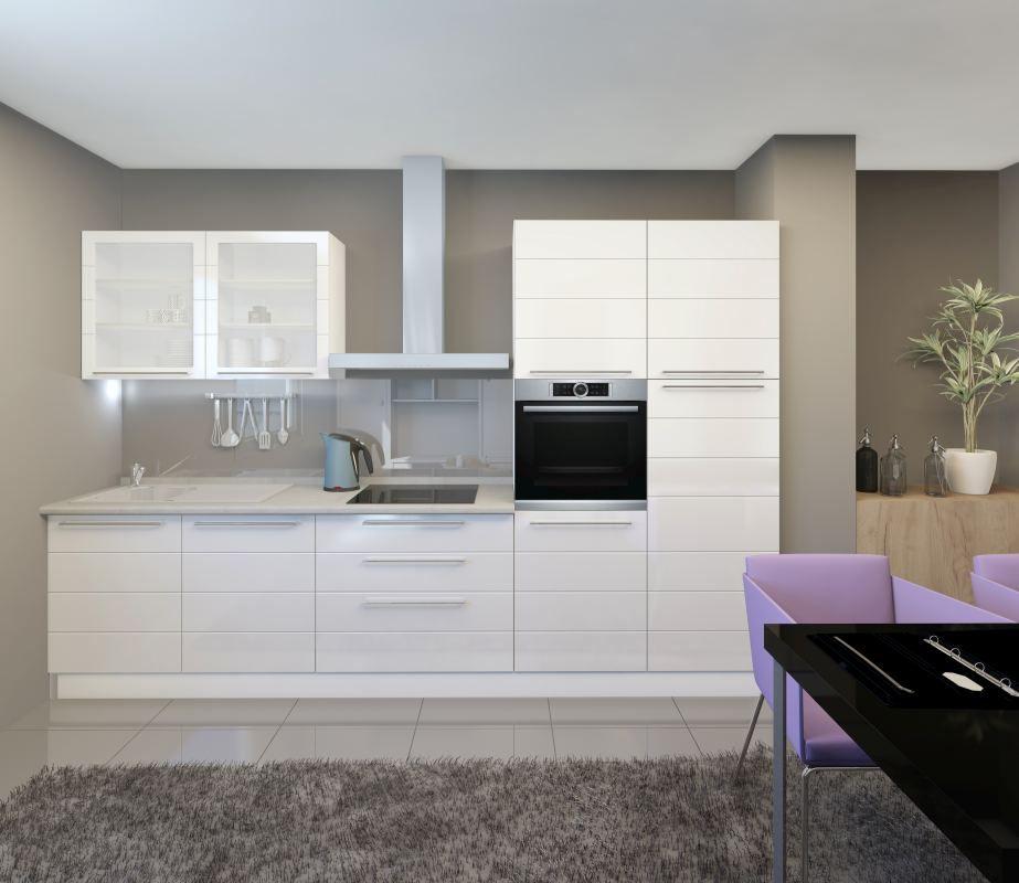 Küchenzeile / Küchenblock Fagali 26, 7-teilig, Farbe: Weiß / Weiß Hochglanz