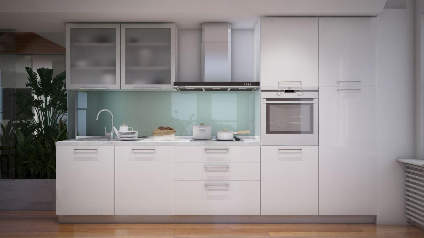 Küchenzeile / Küchenblock Fagali 30, 7-teilig, Farbe: Weiß Hochglanz