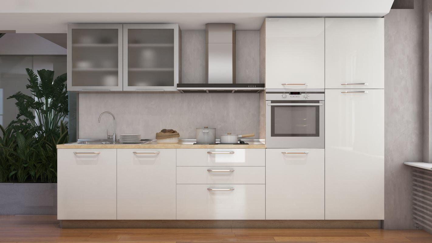 Küchenzeile / Küchenblock Fagali 31, 7-teilig, Farbe: Creme Hochglanz