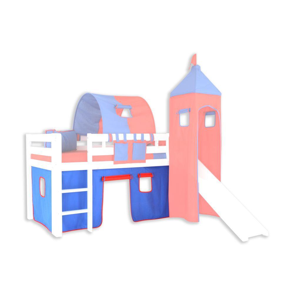 Vorhänge Stoff-Set - Farbe:Blau/Rot
