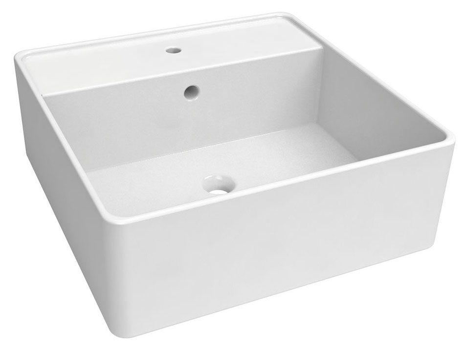 Bad - Waschbecken Dhule 09, Farbe: Weiß – 15 x 41 x 41 cm (H x B x T)
