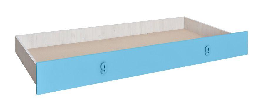 Bettkasten für Bett Luis, Farbe: Eiche Weiß /  Blau - 80 x 190 cm (B x L)