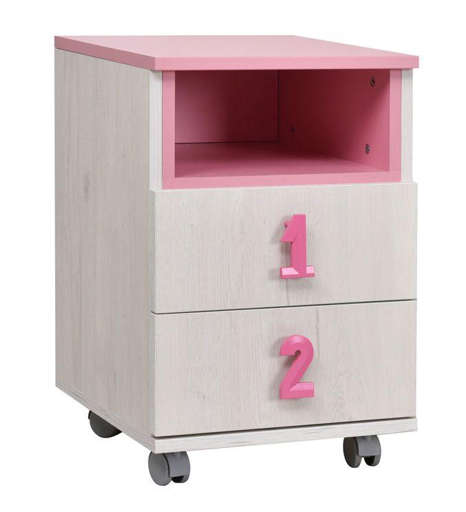 Kinderzimmer - Rollcontainer Luis 23, Farbe: Eiche Weiß / Rosa - 60 x 40 x 42 cm (H x B x T)
